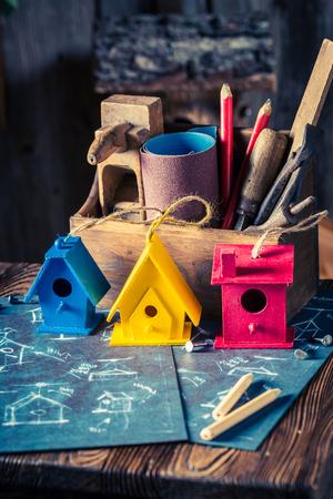 Handmade small bird house and blue construction scheme Stock Photo