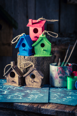 Small and cute bird feeder and blue construction plan