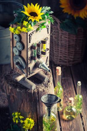 Homemade machine to make oil with sunflower 写真素材