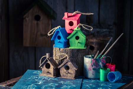 Cute and small bird house and blue construction scheme