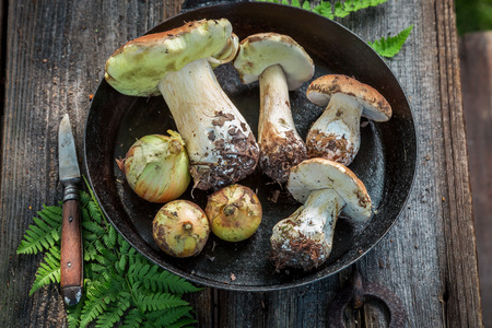 Fresh boletus mushrooms and onion on the pan