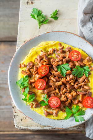 Closeup of tasty omelette with mushrooms, cherry tomatoes and parsley