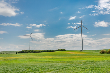Wind turbines on green field in sunny day Imagens