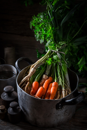 Ingredients for homemade vegan soup with fresh vegetables