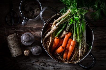 Top view of ingredients for broth made of vegetables