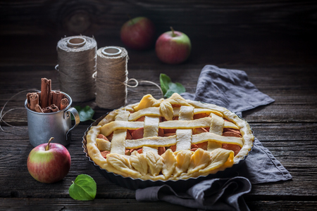 Closeup of sweet apple pie made of fresh fruits