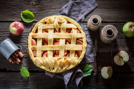 Top view of homemade apple pie made of fresh fruits