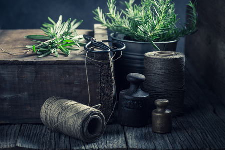 Green rosemary, string and weights on a wooden box Stock fotó