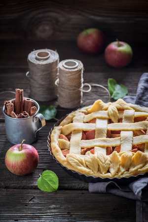 Sweet and tasty apple pie made of fresh fruits 스톡 콘텐츠