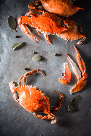Fresh and tasty crab on old metal plate Stock fotó