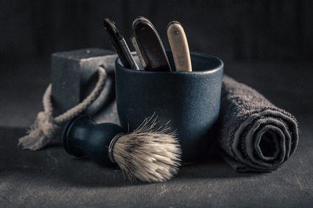 Unique tools for shave with foam, razor and brush