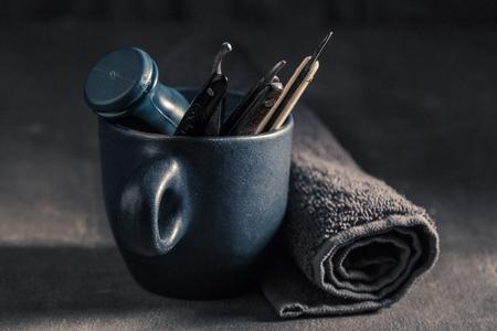 Old shaving set with brush, razor, soap