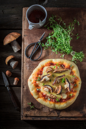 Ready to eat homemade pizza with mushrooms and chease Stock fotó