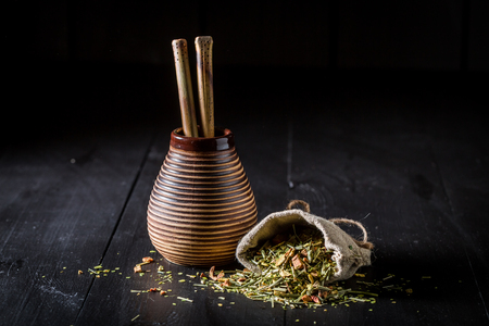 Energizing and fresh yerba mate made of fresh dried leaves Stock Photo