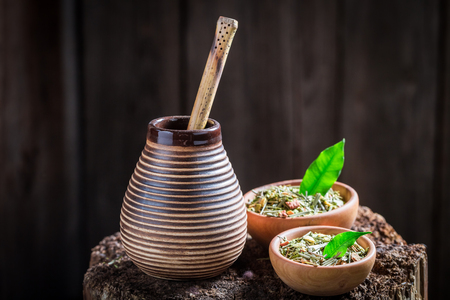 Healthy and fresh yerba mate with bombilla and calabash