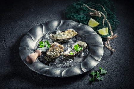 Tasty and fresh oysters on ice with lemons