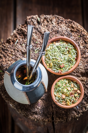 Hot and fresh yerba mate with bombilla and calabash