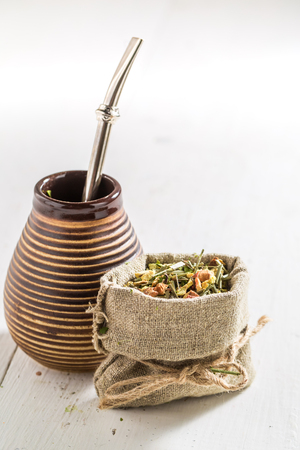 Delicious and fresh yerba mate with calabash and bombilla