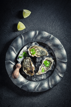 Tasty and fresh oysters with lemons on dark plate