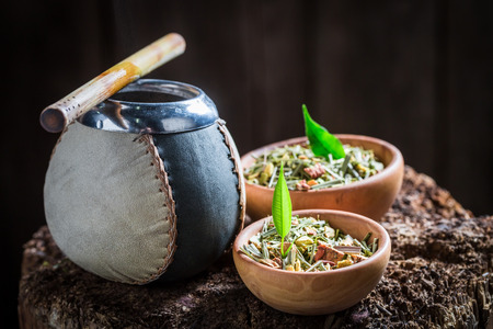 Tasty and fresh yerba mate with bombilla and calabash Stock Photo