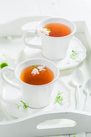 Tasty and sweet two cup of tea with honey