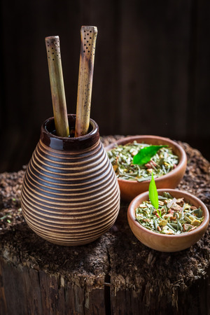 Coseup of yerba mate made of fresh dried leaves 写真素材