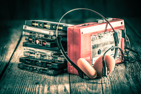 Classic cassette tape with headphones and walkman Stock Photo