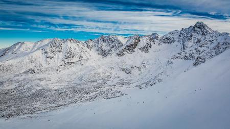 Snowy valley view from Kasprowy Wierch in winter, Poland 版權商用圖片