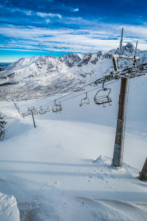 Frozen cableway in the Tatra mountains in winter, Poland