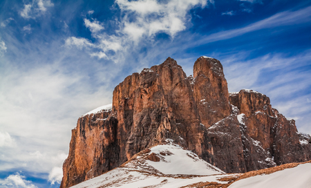 Winter view of snowy Dolomites in Italy