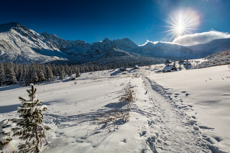 Snowy mountain hut in the mountains, Tatra Mountains
