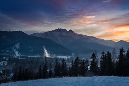 Winter in Zakopane at dusk, Tatra Mountains, Poland
