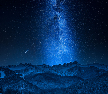 Falling stars and Tatra Mountains in Poland