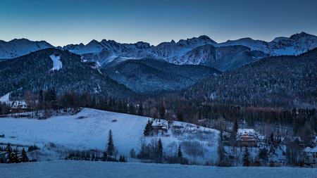 Sunrise over Zakopane in winter, Tatras mountains in Poland