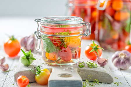 Natural and healthy canned red tomatoes in summer Stock fotó