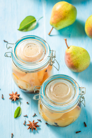 Sweet and tasty pickled pears in the jar