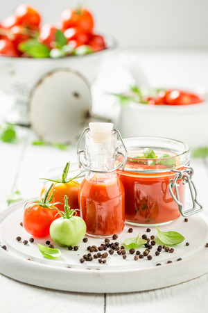 Homemade and tasty passata prepared from tomatoes Stok Fotoğraf