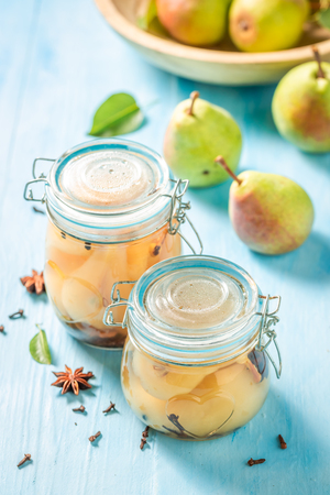 Natural and juicy pickled pears in summer