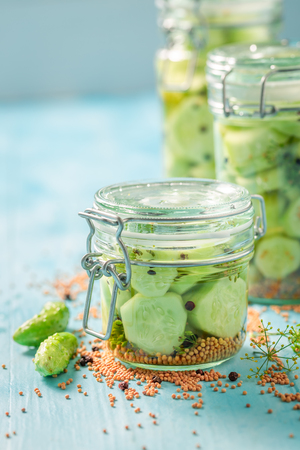 Homemade and tasty canned cucumber in the jar