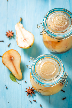 Sweet and tasty pickled pears in summer