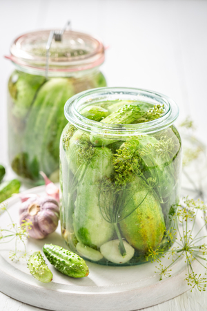 Preparation for fresh canned cucumber in the jar