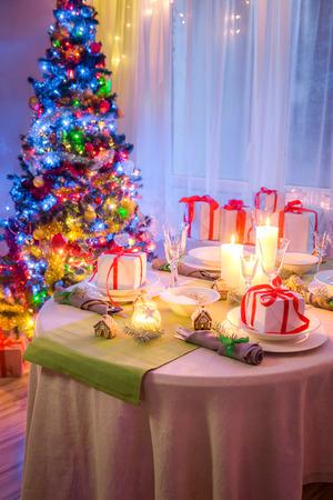 White Christmas table setting for Christmas eve Stock Photo