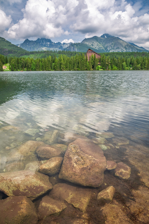 Beautiful Strbske Pleso and mountain lake in theTatra mountains