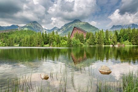 Wonderful mountain lake in Strbske Pleso in summer, Slovakia