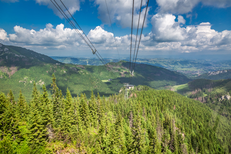 View from the cableway car to green forest in Tatras