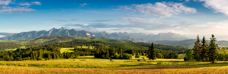 Wonderful panorama of Belianske Tatras mountains at sunset in Poland