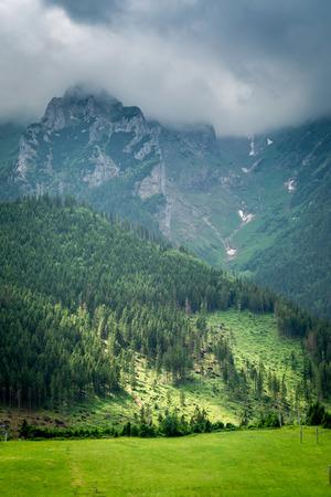 Cloudy Tatra Mountains with an illuminated green valley, Slovakia Stockfoto