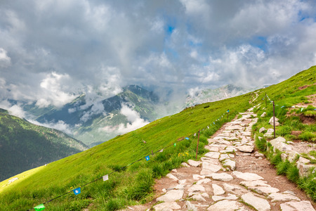 Beautiful path from Kasprowy Wierch in summer, Poland 스톡 콘텐츠