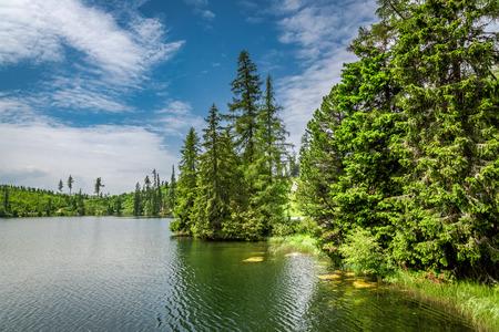 Breathtaking Strbske Pleso and mountain lake in summer