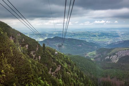 Cableway from Kasprowy Wierch to Zakopane, Poland Stock Photo